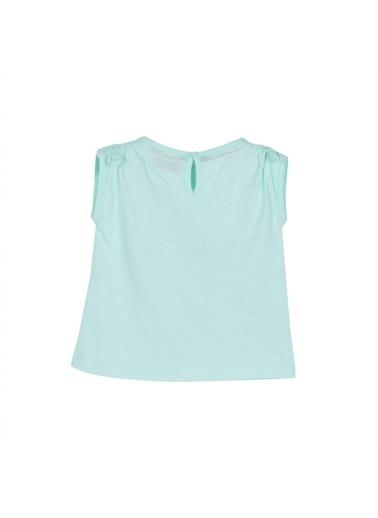 Silversun Kids Bebek Kız Baskılı Kolları Fiyonk Detaylı Kolsuz Tişört - Bk 116098 Yeşil